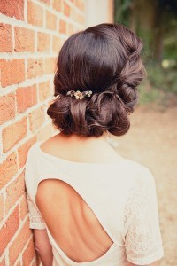 vintage updos wedding hairstyles with headpiece