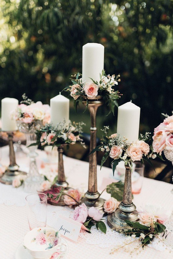 Vintage Decorating Ideas For Weddings Part - 18: vintage wedding centerpiece ideas with candle sticks