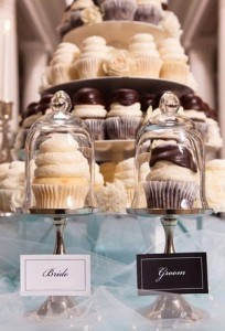 wedding cupcake tower with brides choice and grooms choice