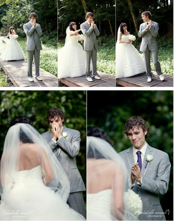 wedding photo ideas with bride and groom first look