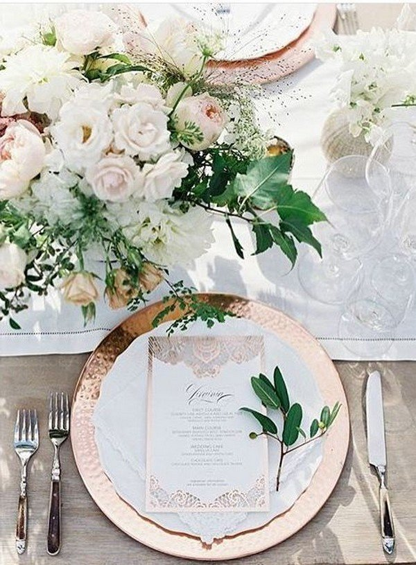 wedding table setting ideas with copper flatware