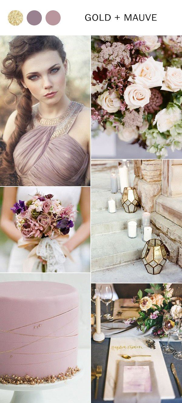 2018 trending mauve and gold wedding color ideas