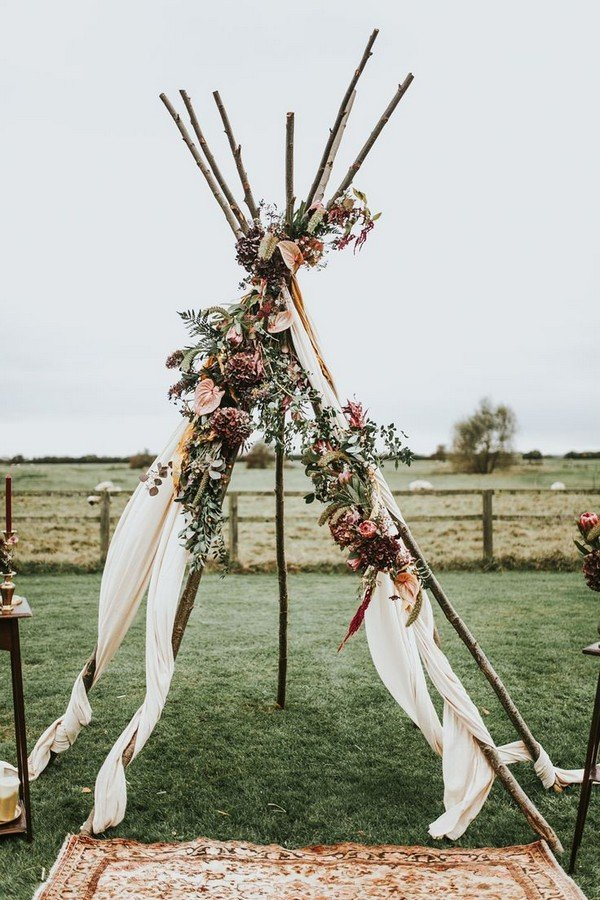 Boho Themed Naked Tipi Wedding Altar Ideas