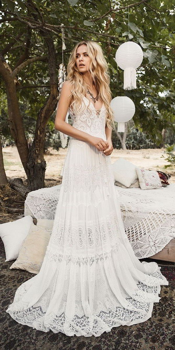 Inbal Raviv lace boho wedding dress