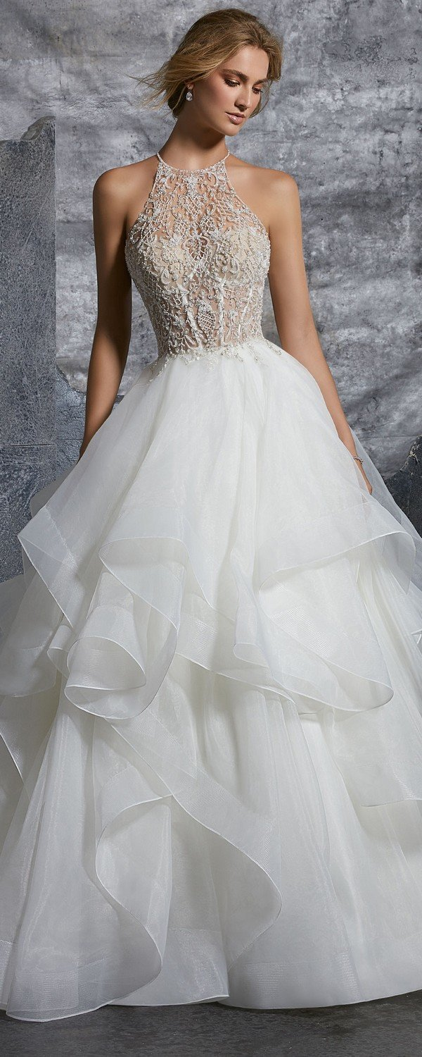 Kali high halter ball gown wedding dress from Morille