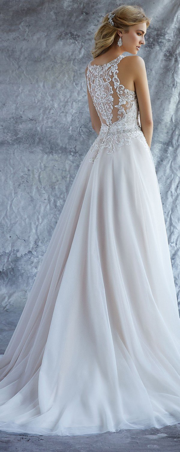 Katie high neck Morilee wedding dress 2018 back view