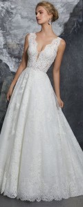 Kelly Morilee lace wedding dress with v neck
