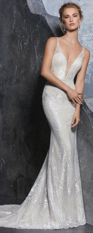 Kendra metallic wedding dress from Morille 2018