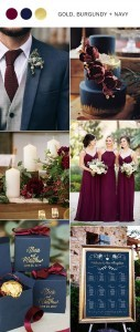 burgundy navy and gold wedding color ideas