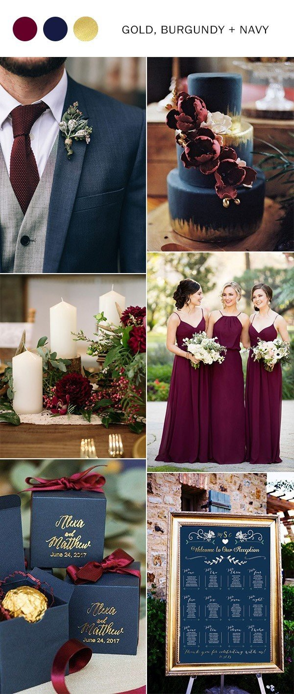 Top 10 wedding color ideas for 2018 trends oh best day ever burgundy navy and gold wedding color ideas junglespirit