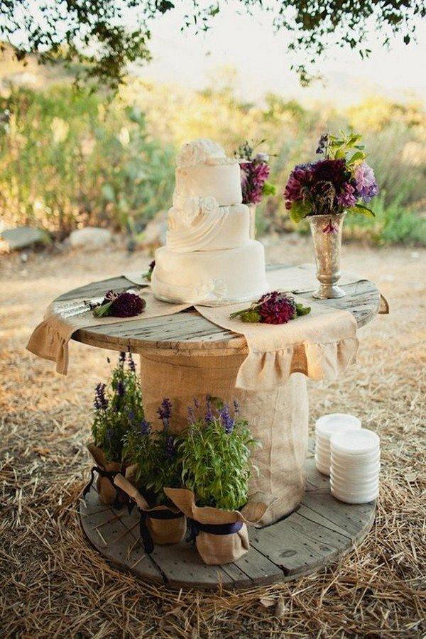 country rustic farm wedding cake buffet ideas
