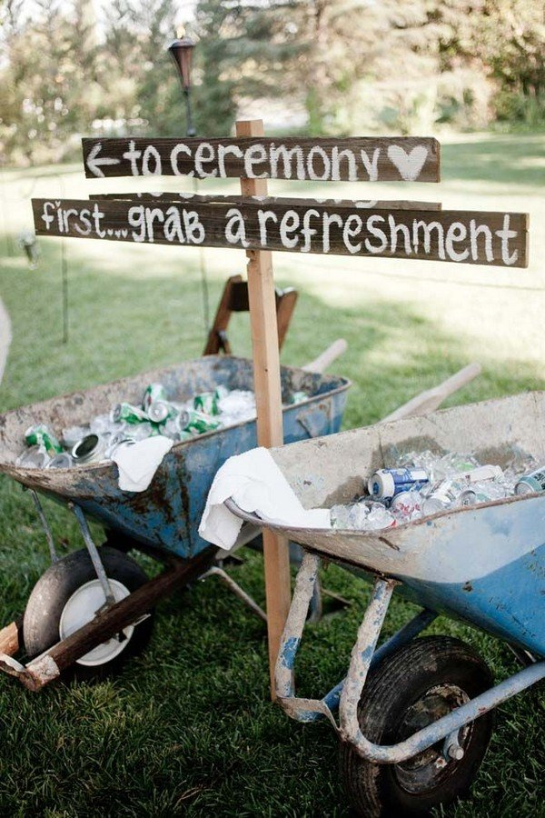 country wedding sign ideas with drink station