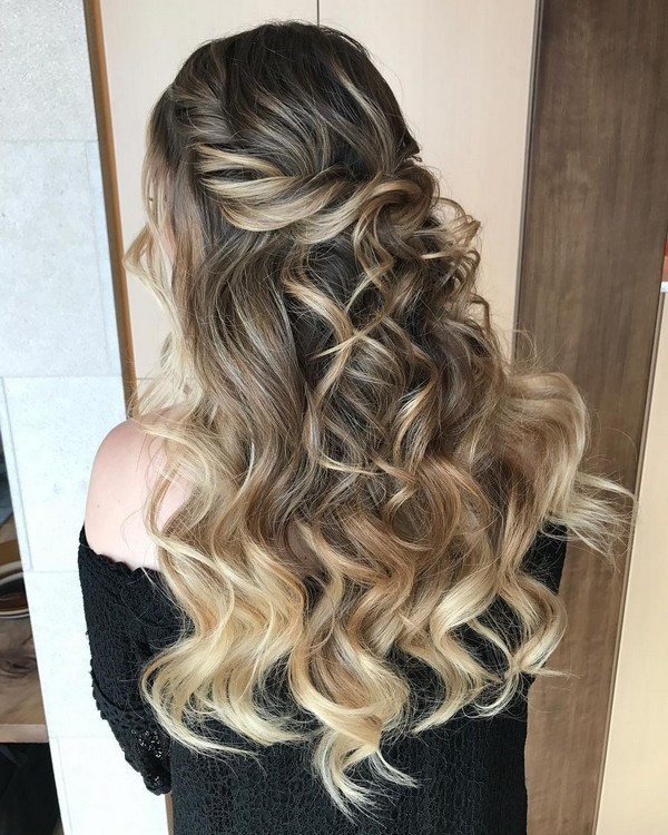elegant half up half down wedding hairstyle ideas