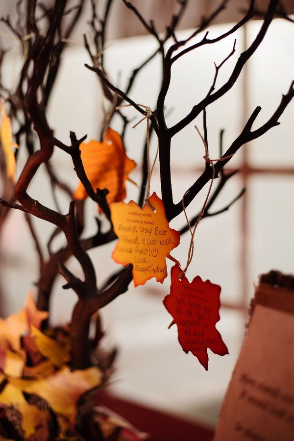 fall wedding wishing tree ideas with maple leaves