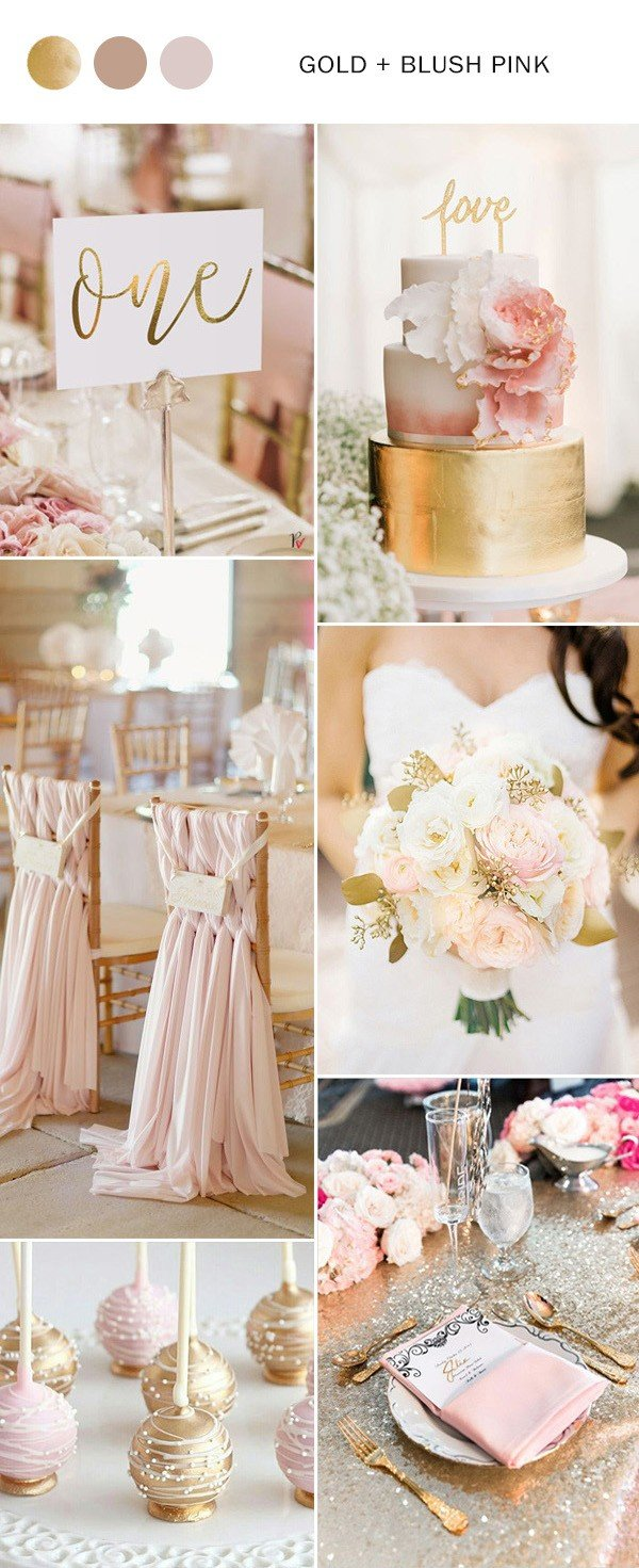 gold and blush pink wedding color ideas