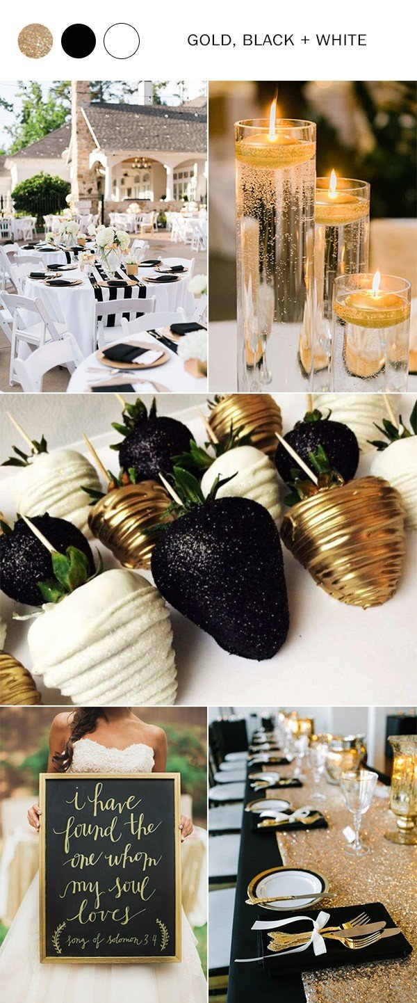 gold black and white wedding colors for 2018