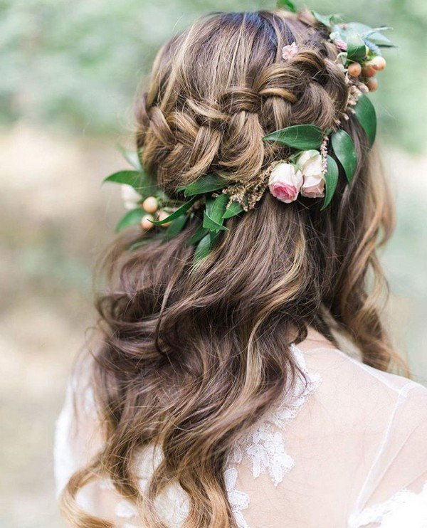 half up half down wedding hairstyle with floral