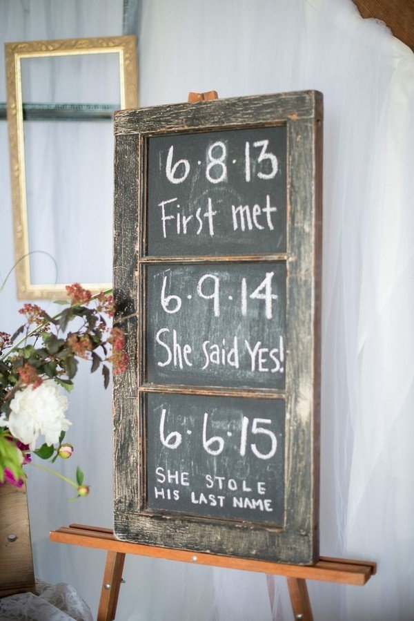 love story rustic wedding sign ideas