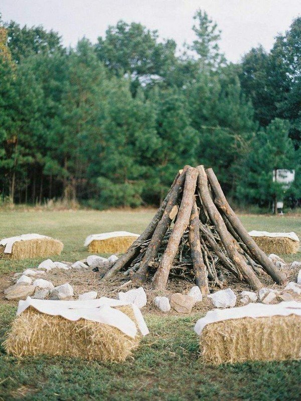 outdoor country farm wedding bonfire ideas