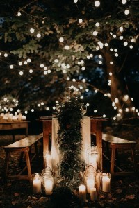 outdoor reception decoration ideas with lights for boho weddings