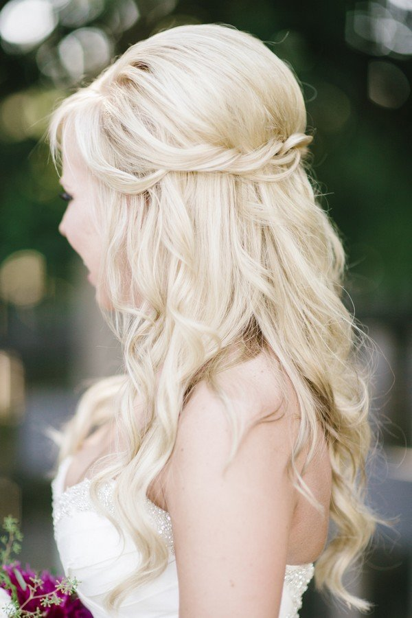 twisted half up half down wedding hairstyle ideas