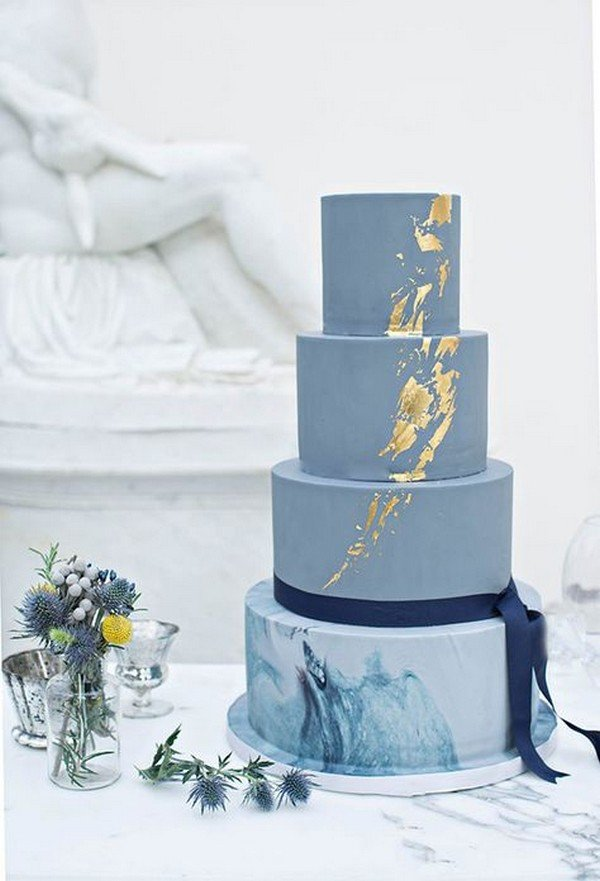 Blue marble and gold metallic cake