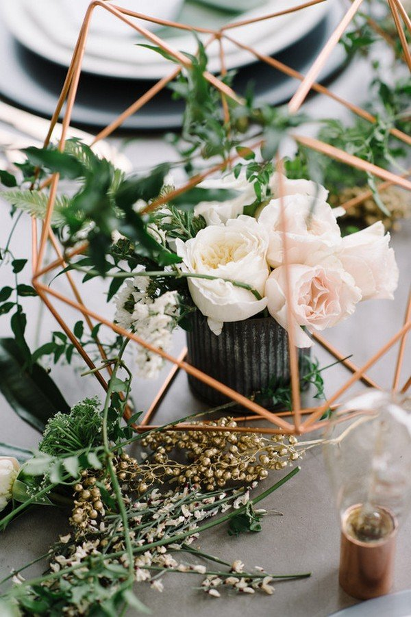 Copper green industrial modern wedding centerpiece ideas