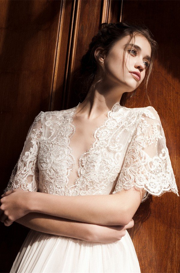 Daalarna deep v neck vintage wedding dress with lace sleeves