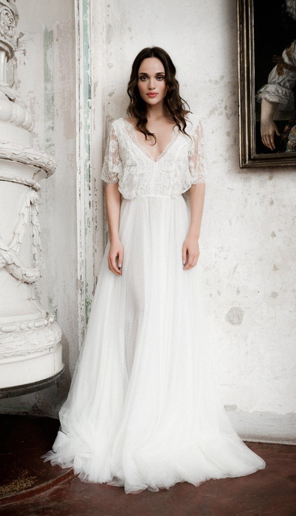 Daalarna vintage v neck wedding dress with sleeves