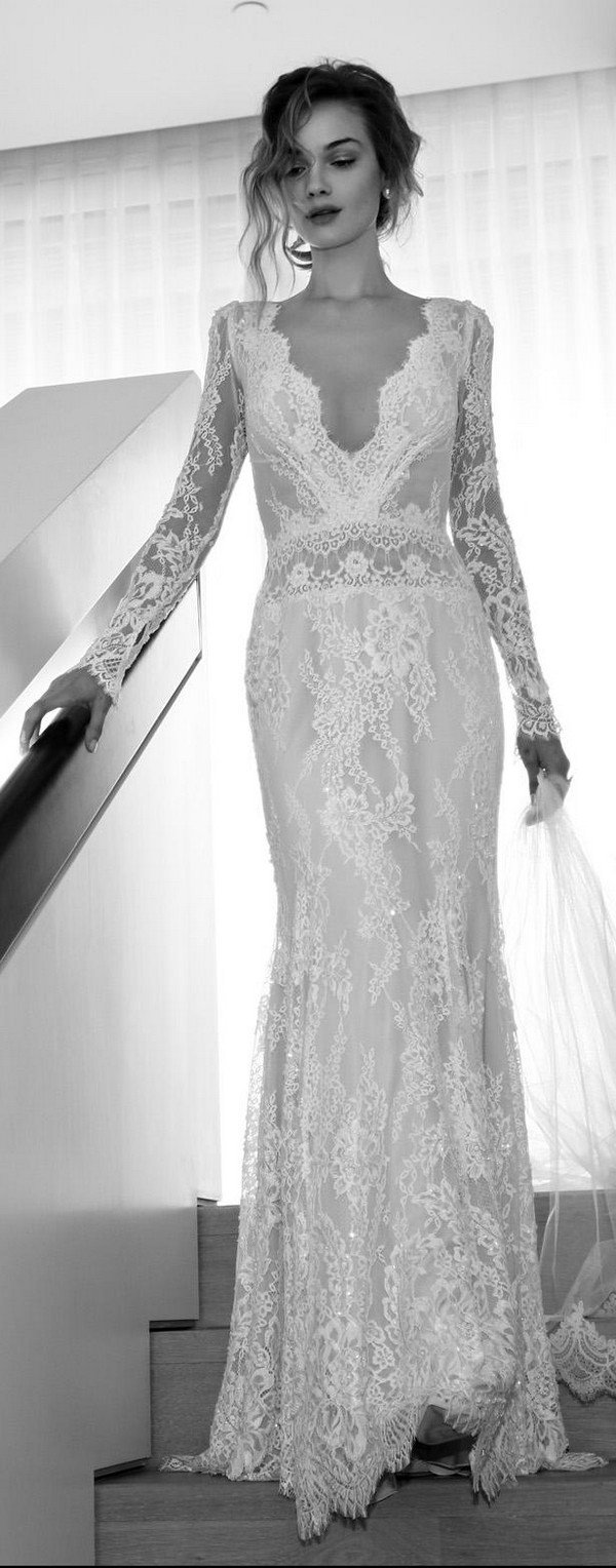 Lihi Hod sheath lace wedding dress with long sleeves