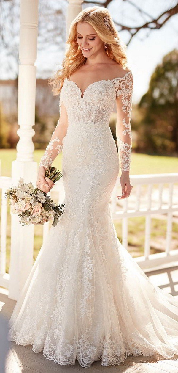 Martina Liana wedding dress with long lace sleeves for 2018