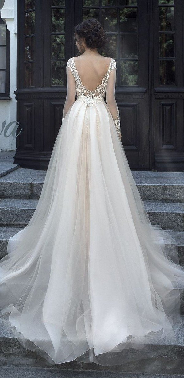 Milva v back wedding dress with long sleeves