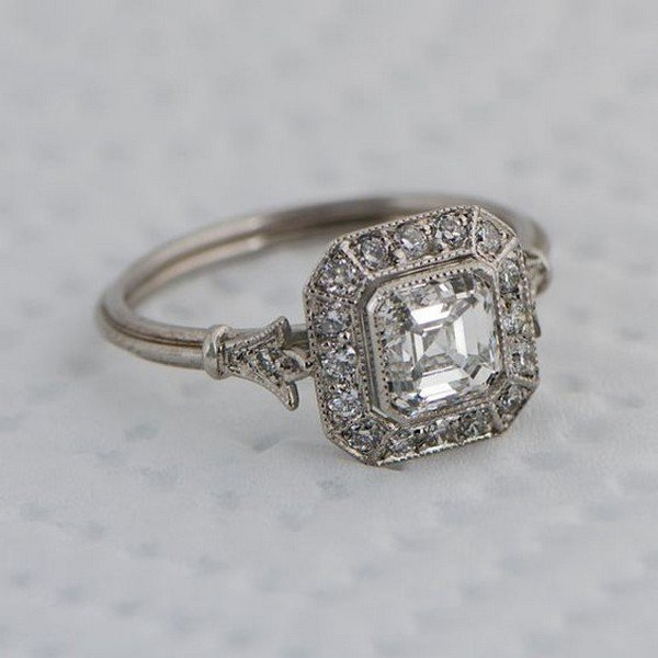 Vintage Asscher Cut Diamond wedding engagement ring