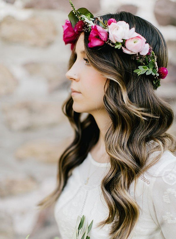 boho wedding hairstyles with flower crown