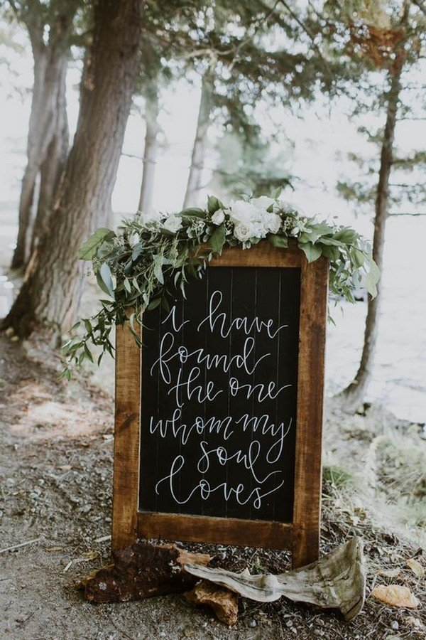 chic greenery chalkboard wedding sign(1)
