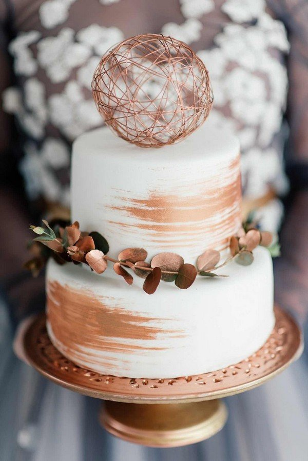 chic metallic copper wedding cake
