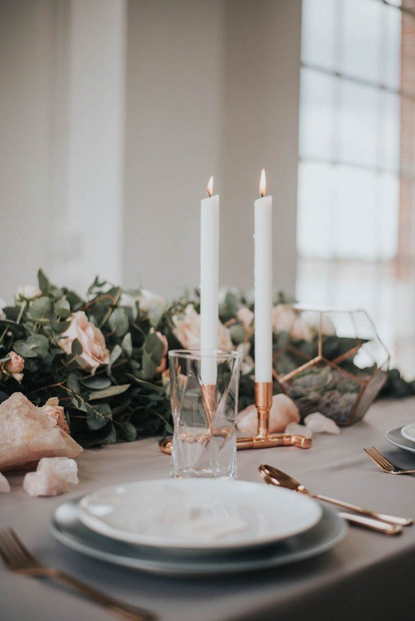 chic wedding centerpiece ideas with copper and greenery