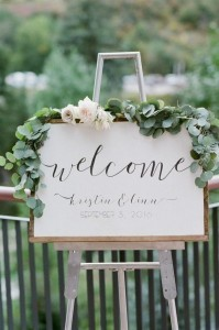 chic white and green wedding welcome sign