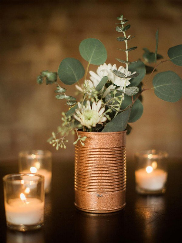 diy industrial wedding centerpiece ideas with greenery