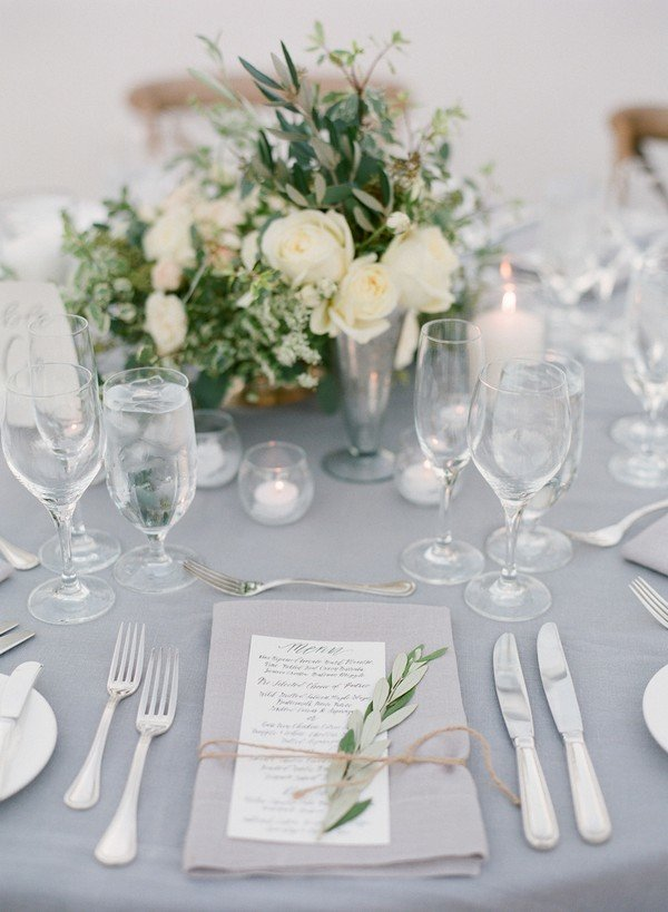 elegant green white and gray wedding table settings