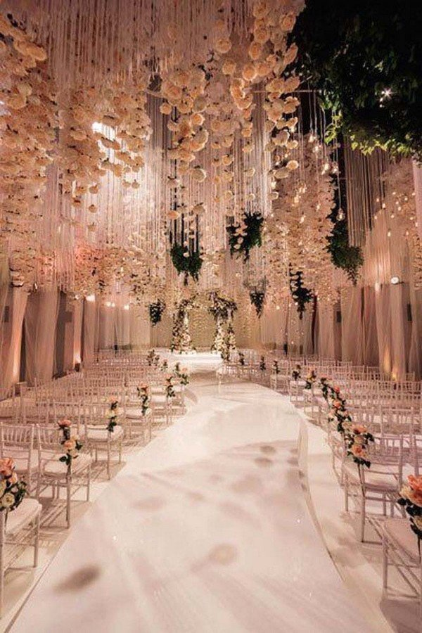 fairytale flower ceiling wedding decoration ideas