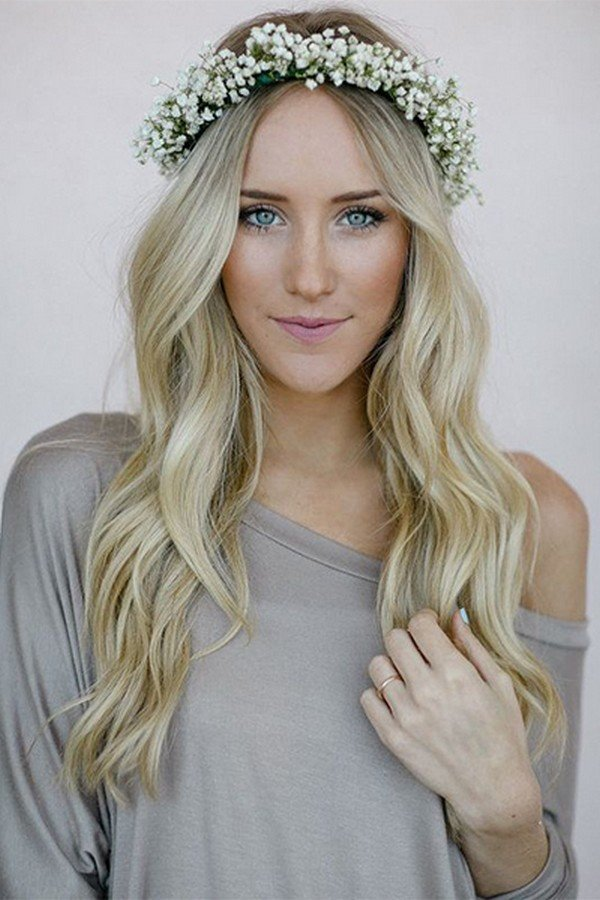 fantastic wedding hairstyle with flower crown