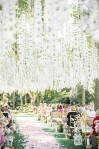 flower chain wedding ceremony ceiling and flower petal aisle