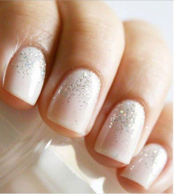 glittering bridal nail design ideas