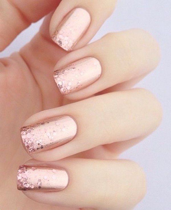 glittering rose gold wedding nail design ideas