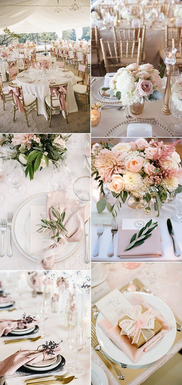 gold and pink elegant wedding table setting ideas for 2018