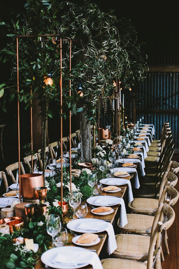 greenery and copper industrial wedding reception ideas