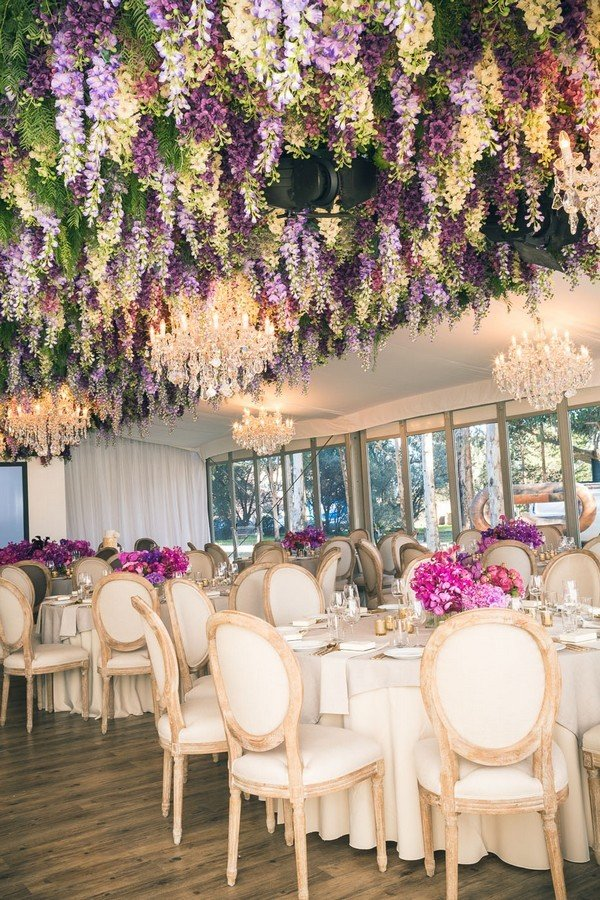 greenery and purple flower ceiling decoration ideas for wedding reception