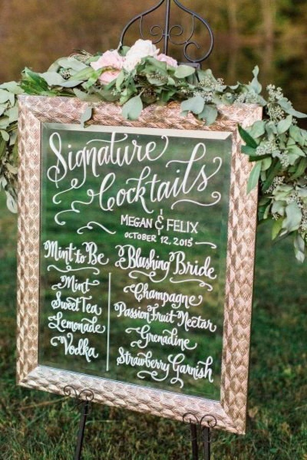greenery decorated glass vintage wedding sign ideas