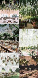 greenery floral ceiling wedding decoration ideas
